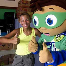 Super WHY with student