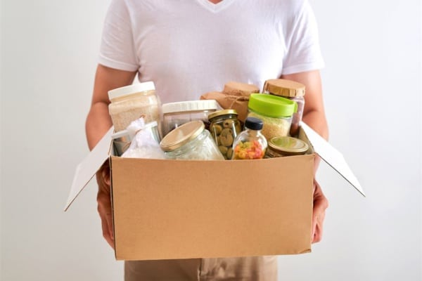 Box of food donations. SHIM