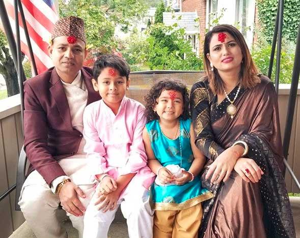 Bhola and Laxmi with family