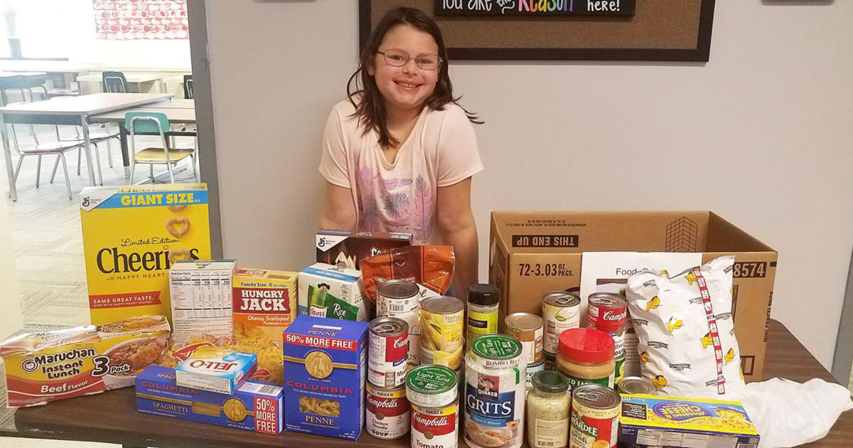 Ciera Erbrecht, a fourth-grade student at William Penn Elementary School, collected more than 100 nonperishable food and personal care items for the South Hills Interfaith Movement's food pantry