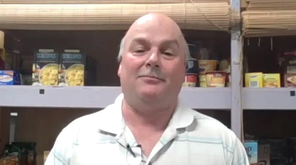 Jim Guffey in the food pantry
