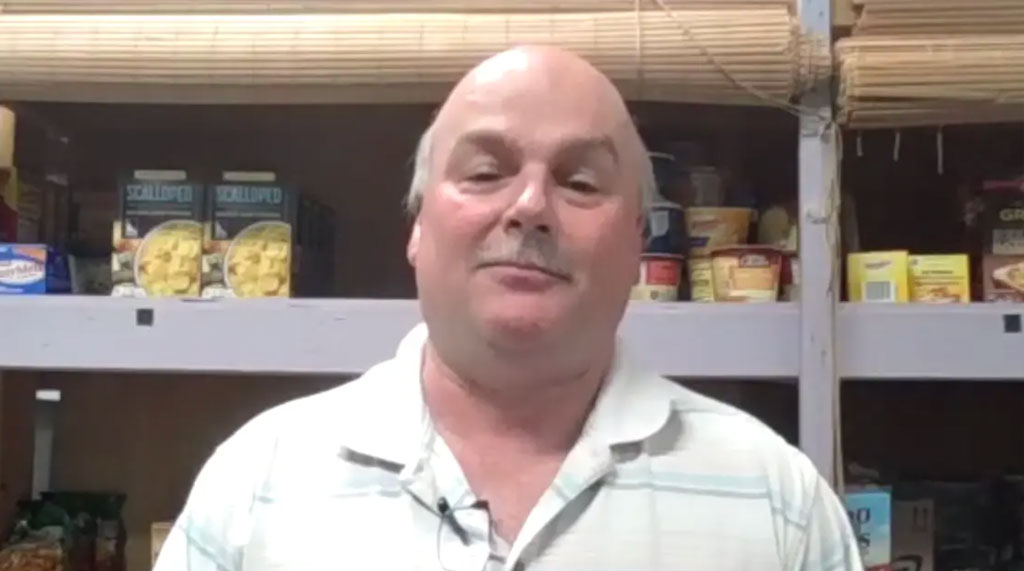 Jim Guffey in the food pantry
