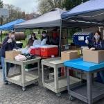 Pantry volunteers outdoors