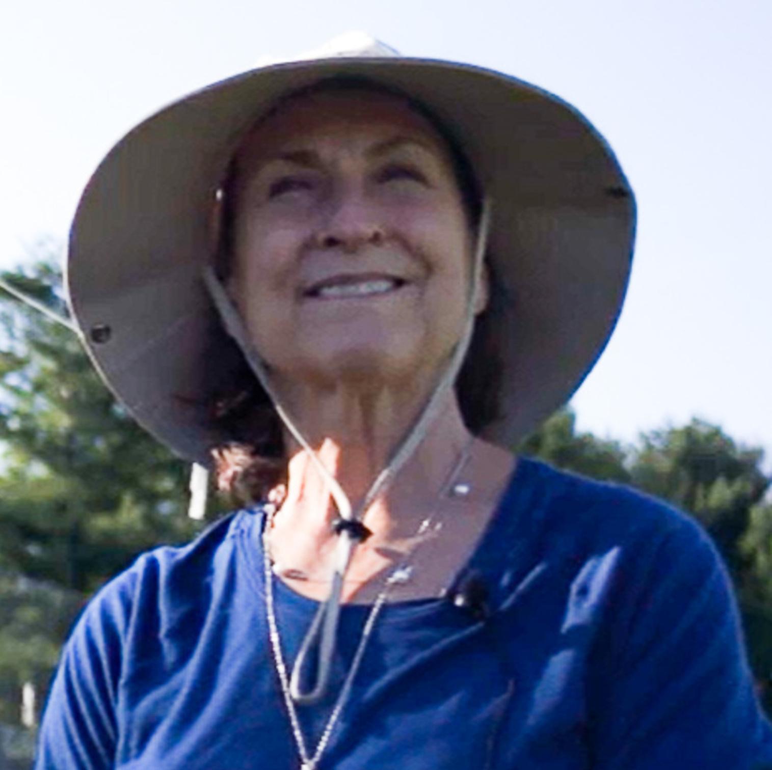 Karen in a gardening hat