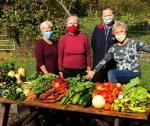 Masked garden volunteers